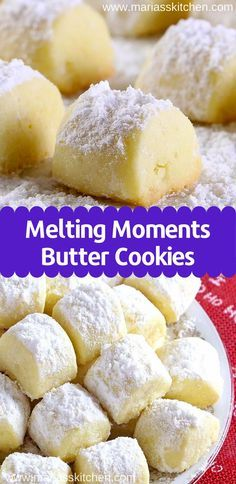 Christmas Melting Moments Butter Cookies - Nothing says Christmas like delicious buttery cookies! So I'm going to share with you today our favorite tried, tested Melting Moments buttery cookies recipe! Quick Cookies, Yummy Cookies, Buttery Cookies, Butter Shortbread Cookies, Danish Butter Cookies, Almond Butter Cookies, Quick Cookie Recipes, Short Bread Cookies, Cake