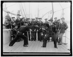 Sailors engage in fencing exercises aboard the U.S.S. Atlanta, circa 1886-1901. Detroit Publishing Company Photograph Collection, Library of Congress Prints and Photographs Division.