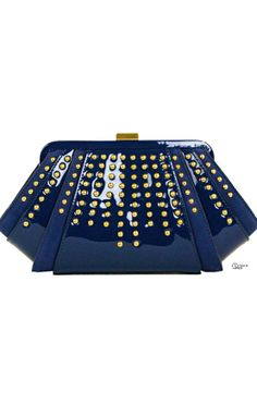 Zac Posen Patent Blue Studded Clutch ● 2014 ● Perfect With My Crush Of The Day Pin: Sass  Bide Resort 2015 -ShazB