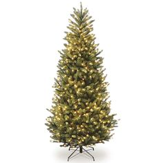 National Tree Company 6.5-ft. Clear Pre-Lit Fraser Fir Slim Artificial Christmas Tree, Green