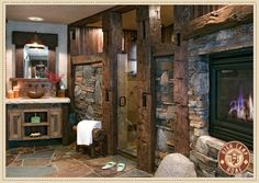 Doesn't everyone need a fireplace in their bathroom - check out the entry to shower - NICE