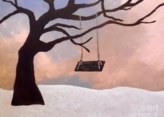 Tree Swing Greeting Card featuring the painting Giving Tree by Jilian Cramb - AMothersFineArt