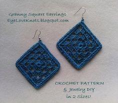 EyeLoveKnots: Framed Granny Square Earrings in 2 Sizes - Free Crochet Pattern & Jewelry DIY