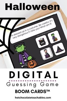 This adorable Halloween themed digital guessing game will help your students identify 17 different Halloween vocabulary words based on short descriptions. Each What am I? interactive task card contains clues that describe one of the four images.
