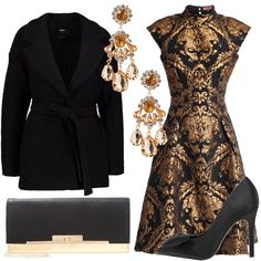 Outfit caratterizzato dai colori oro e nero da indossare in occasione di una serata elegante. Abito con colletto coreana abbinato a cappotto classico nero. Per gli accessori ho scelto décolleté in raso nero con fiocco, pochette in ecopelle nera e oro e orecchini chandelier con pietre dorate e strass.