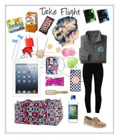 """""""Flight Essentials"""" by lauryntamia ❤ liked on Polyvore featuring Vera Bradley, Nixon, BaubleBar, Sperry, LnA, Candie's, Eos, Philip Kingsley and H&M"""