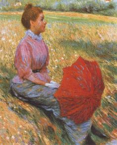 ~ Federico Zandomeneghi ~ Italian artist, 1841-1917: Lady in a Meadow