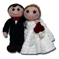 Bride and groom pattern by Zhaya Designs Crochet Dolls Free Patterns, Amigurumi Patterns, Amigurumi Doll, Wedding Doll, Crochet Wedding, Doll Accessories, Wedding Couples, Diy Gifts, Crochet Projects