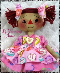 """♥ Primitive"""" 'Lil Valentine Annie"""" PATTERN #132 ♥ from Ginger Creek Crossing ♥"""