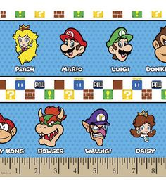 Nintendo Character Stripe Cotton Fabric