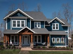 Young House Love Richmond Homerama - love the exterior (colors, style, etc) Craftsman Exterior, Craftsman Style Homes, House Paint Exterior, Dream House Exterior, Craftsman House Plans, Dream House Plans, Exterior House Colors, House Exteriors, Casas The Sims 4