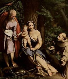 The Rest on the Flight to Egypt with Saint Francis - Correggio. Glossy print seen in HTB Queen's Gate Church