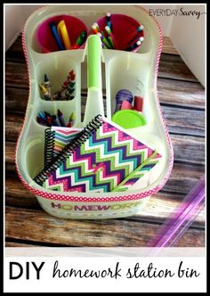 Check out how to easily make your own diy homework station bin with a shower caddy, tumblers and school supplies. organization, idea