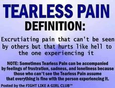 Tearless pain Definition... Chronic Mirgraines