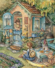 Kim Jacobs Art | Kim Jacobs~wouldn't we have loved a playhouse like this?  looks fun even now :)