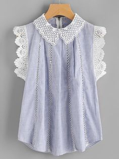 Product name: Contrast Scallop Lace Trim Pinstripe Blouse at SHEIN, Category: Blouses Style Bleu, Blue Style, Blue Fashion, Fashion Outfits, Petal Sleeve, Moda Chic, Scalloped Lace, Blue Blouse, Lace Sleeves