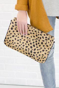 Sassy Print Clutch- Cheetah Print Clutch- Cheetah Clutch With Chain- Juliana's Boutique