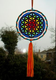 8 inches Flower of Life Suncatcher Mobile - Sacred Geometry Window Hanging Mandala - Stained Glass Style Wall Decor - Boho Hippie Home Decor - pinned by pin4etsy.com