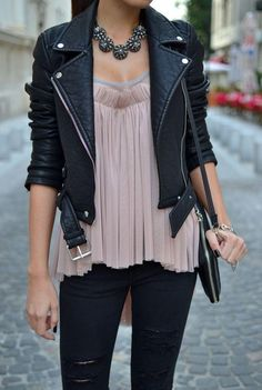 Leather jacket black jeans blouse