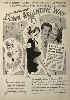 Down Argentine Way - Don Ameche - Betty Grable - Carmen Miranda - 1940 ... I need to watch this