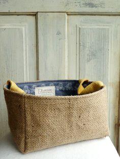 Upcycled Original AbBy storage basket Coffee burlap by 5thseason, $32.00