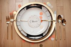 Black and Gold Place Settings from Hostess with the Mostess