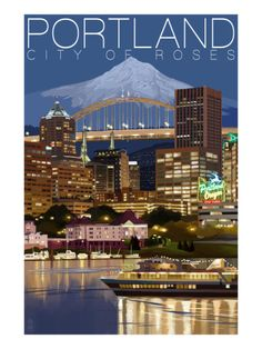 That's a lot of Portland in one poster! Portland, Oregon - Skyline at Night - Lantern Press Poster Portland City, Portland Oregon, Portland Skyline, Oregon Washington, Landscape Arquitecture, Oregon Travel, Vintage Travel Posters, Poster Vintage, Pacific Northwest