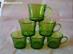 Duralex.6 tazas de cafe color verde. Años 60/70 Perfecto estado. Como nuevo!