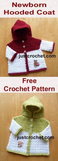 Free newborn baby crochet pattern for hooded coat. #babycrochet