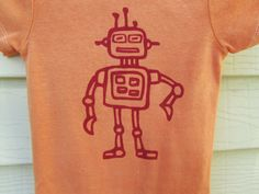 Hand dyed Hand Painted baby boy robot onesie by buggyandbubba