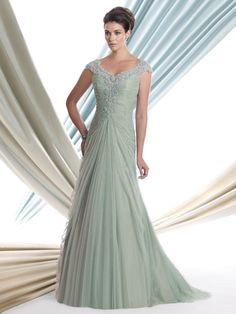 Beaded Cap Sleeves A-Line Montage Mon Cheri Mother Of The Bride Dress 113915 DimitraDesigns.com