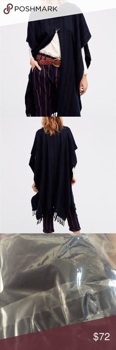 "COZY FREE PEOPLE STRIPED CAPE The perfect throw-on or addition to any look this super soft and cozy stripe cape features a toggle closure and fringe trim. No tags but it is in a sealed bag. Color may vary from stock photo. One size fits all.   85% Acrylic 15% Polyester Hand Wash Cold Import Product measurements Length: 38"" = 96.52 cm Free People Jackets & Coats Capes"