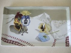 150 USD Pansy plate with lace painted on porcelain by Olivia Guez