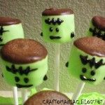 Franken-Mallows - I made something like this for Wyatt's October Birthday Party, but dipped marshmallows in green chocolate, then immediately into oreo cookie crumbs for the hair. The kids loved them!