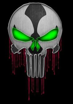 Punisher Spawn Mash-Up Art Print. EC - I would love for Image and Marvel comics to collaborate Spawn and Punisher as a limited cartoon series on Netflix with the voices of Keith David and Jon Bernthal. The Punisher, Punisher Logo, Punisher Skull, Punisher Tattoo, Bd Comics, Image Comics, Marvel Comics, Comic Books Art, Comic Art