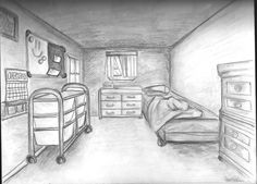 A one point perspective of a bedroom. this bedroom perspective appealed to me because its something very different from what i've been doing but still has the same concept of perspective however its hard to find the vanished point Perspective Drawing One Point, Perspective Art, Drawing Interior, Interior Sketch, Interior Design, Bedroom Drawing, Phineas Y Ferb, Drawing Projects, Drawing Tutorials