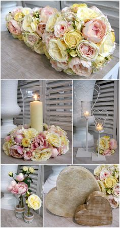 A fresh spring bridal range in pink and lemon roses. Bouquet, table centre design and co-coordinating accessories - Artificial Flowers