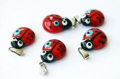 6 PCS Mini Ladybug Glass Pendants Lampwork by PrettyTurkishThings