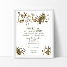 Snugglepot and Cuddlepie Invitation Choice of Printed or Print your Own & Save Baby First Birthday, First Birthday Parties, First Birthdays, Birthday Ideas, 1st Birthday Invitations, Baby Shower Invitations, Australian Party, Magic Theme, Aussie Christmas