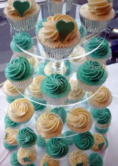 Turquoise and hearts wedding cupcake tower