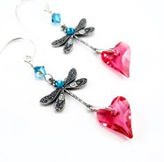 What's New Wednesday! Pink and Teal Earrings Dragonfly Earrings Heart by Heidisjewels, $24.00
