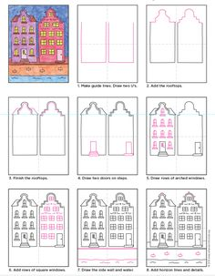 Draw Amsterdam Buildings · Art Projects for Kids Building Drawing, Building Art, Doodle Drawings, Easy Drawings, Drawing Sketches, Drawing Lessons, Art Lessons, Drawing For Kids, Art For Kids