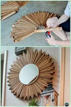 diy holz DIY Stained Wood Shim Starburst Mirror Instruction -DIY Decorative Mirror Frame Ideas and Projects Diy Para A Casa, Diy Casa, Diy Home Decor Projects, Diy Home Crafts, Decor Ideas, Wood Projects, Decorating Ideas, Yarn Crafts, Decorating Frames