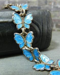 Vintage-Meka-Sterling-Silver-Denmark-Blue-Enamel-Butterfly-Bracelet
