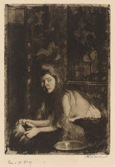 Albert Besnard, Woman with a Vase, 1894, etching and aquatint (state III/III), National Gallery of Art, Gift of Mr. and Mrs. Daniel Bell, in Honor of the 50th Anniversary of the, National Gallery of Art.