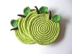 Green Light Apple Coasters Beverage Drink Juice by MariMartin