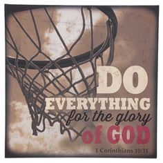 """Get your head in the game and make a slam dunk in home decor withBasketball Glory of God Canvas Art. This canvas features a sepia-toned basketball hoop with a scripture from the Bible in cream, black, and red text. It's perfect for hanging in your office, fan cave, and any room that needs a touch of inspiration.        Dimensions:      Length: 18""""    Width: 18""""    Thickness: 1 1/2""""          Hanging Hardware:      2 - Sawtooth Hangers ..."""