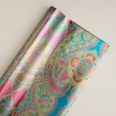 One of my favorite discoveries at WorldMarket.com: Jumbo Venice Gift Wrap Roll   Oh boy! Now THIS is MY kind of gift wrap!  oo the paisley,oo the colors,oo yum yum yum! it would be so cool to wrap gifts with this paper!