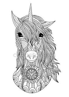 Descargar - Zendoodle estilizada cabeza de unicornio — Ilustración de stock #147710315 Unicorn Coloring Pages, Adult Coloring Book Pages, Animal Coloring Pages, Coloring Sheets, Coloring Books, Colouring, Unicorn Head, Printable Coloring, Mandala Art