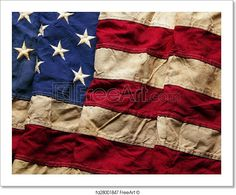 """""""Old American flag background for Memorial Day or 4th of July"""" - Art Print from FreeArt.com"""